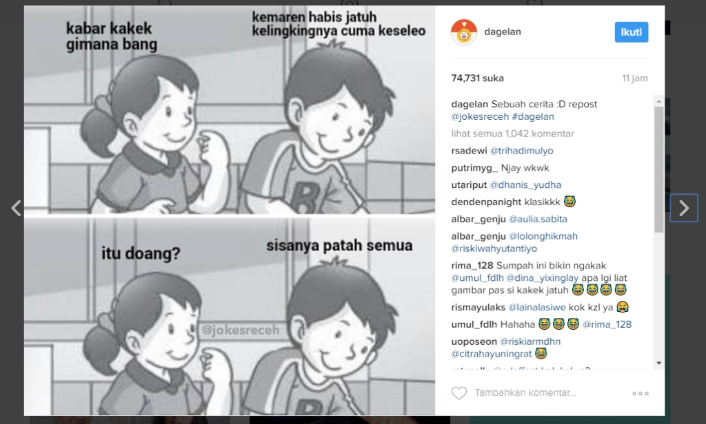 Salah satu desain meme di Instagram Dagelan