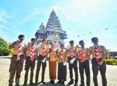 Tim Pramuka dalam Upacara Dirgahayu RI ke-72 di Graha Maria Annai Velangkanni (Copyright: Jeffry Siallagan)