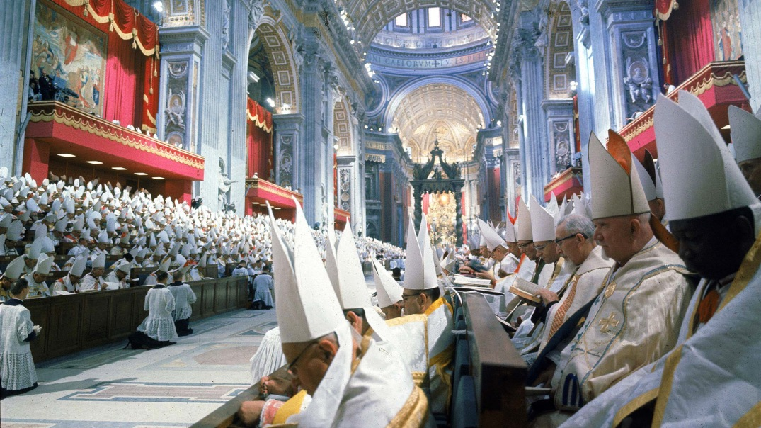 Panorama inside St. Peter's Basilica during the 2n